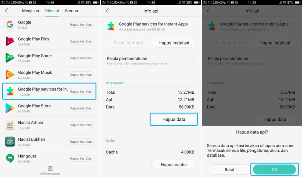 Hapus Data Google Play Service For Instant Apps OPPO