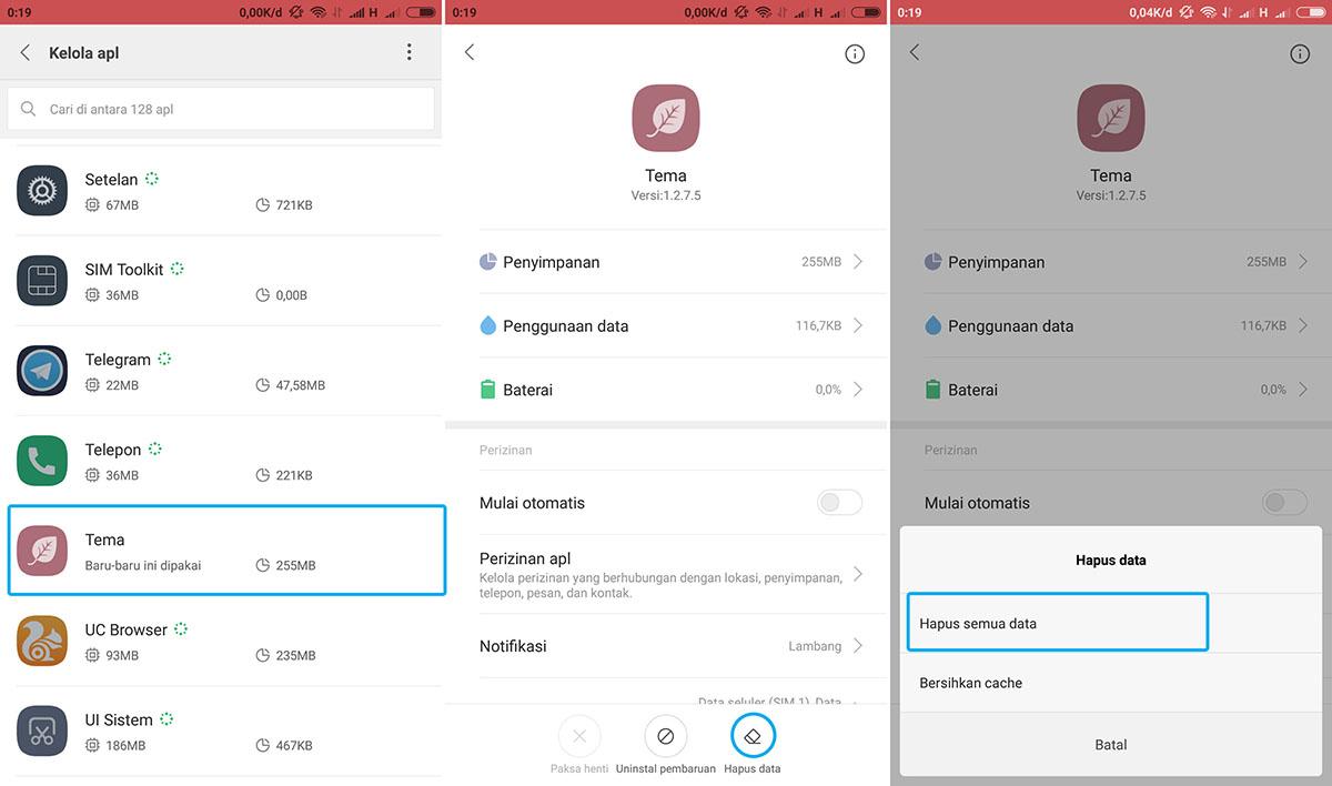 Hapus Data Tema Xiaomi