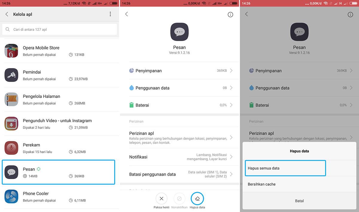 Hapus Semua Data Pesan Xiaomi