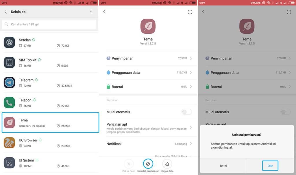 Uninstal Pembaruan Tema Xiaomi