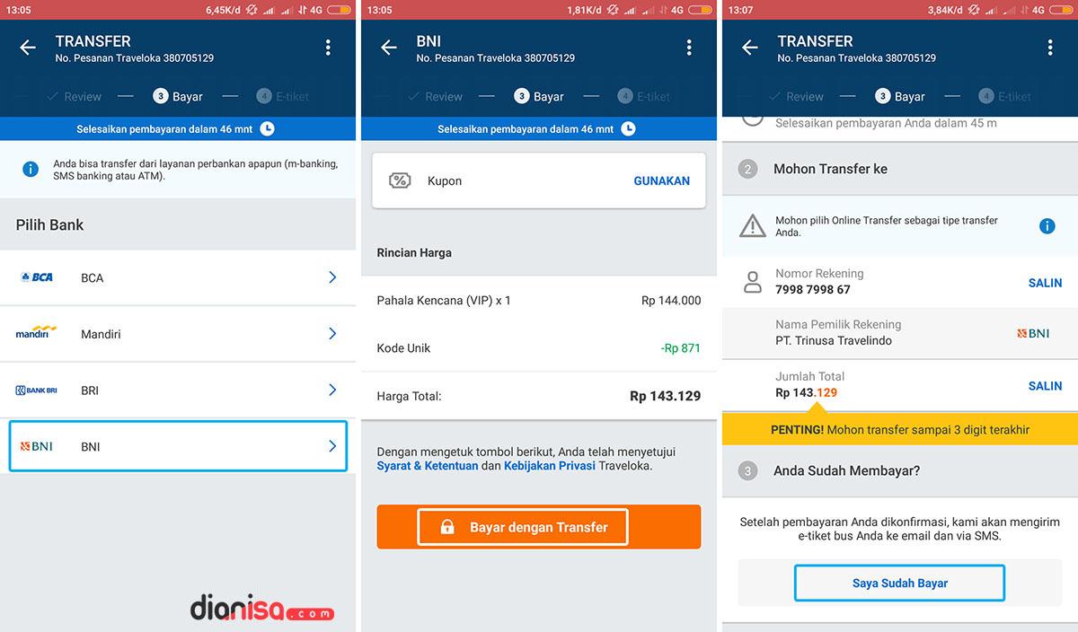 Konfirmasi Pembayaran Tiket - Traveloka 7