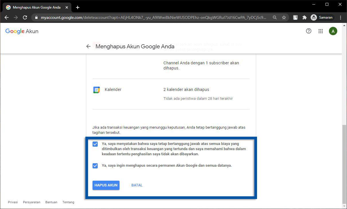 Konfirmasi Penghapusan Akun Google