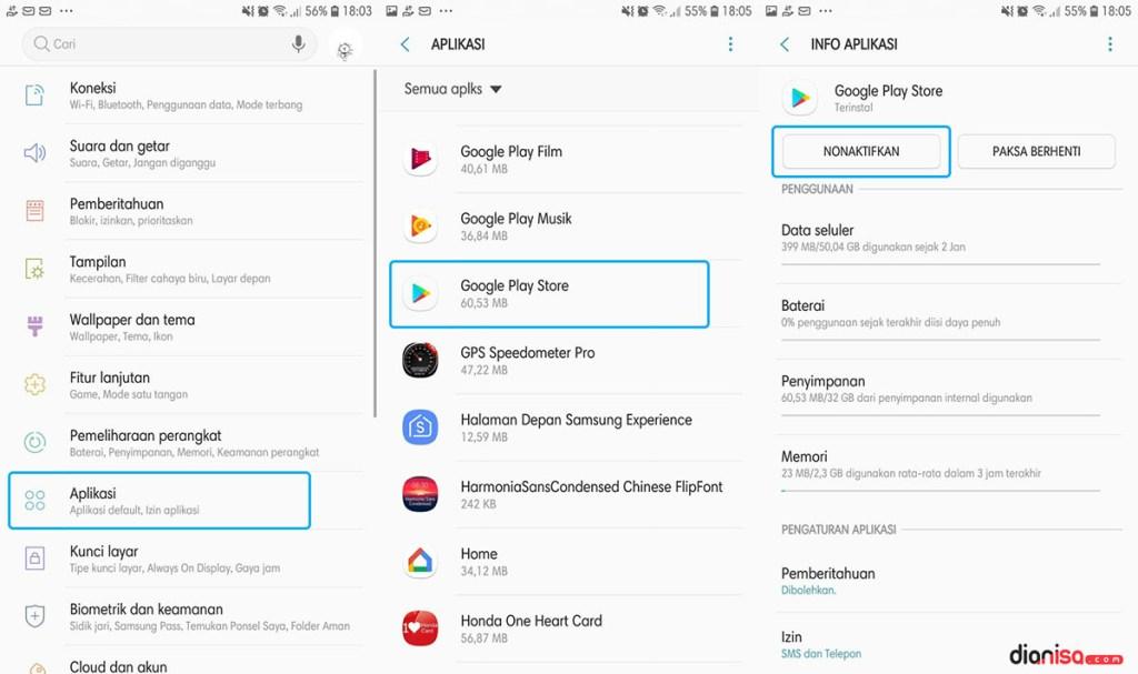 Nonaktifkan Google Play Store SAMSUNG