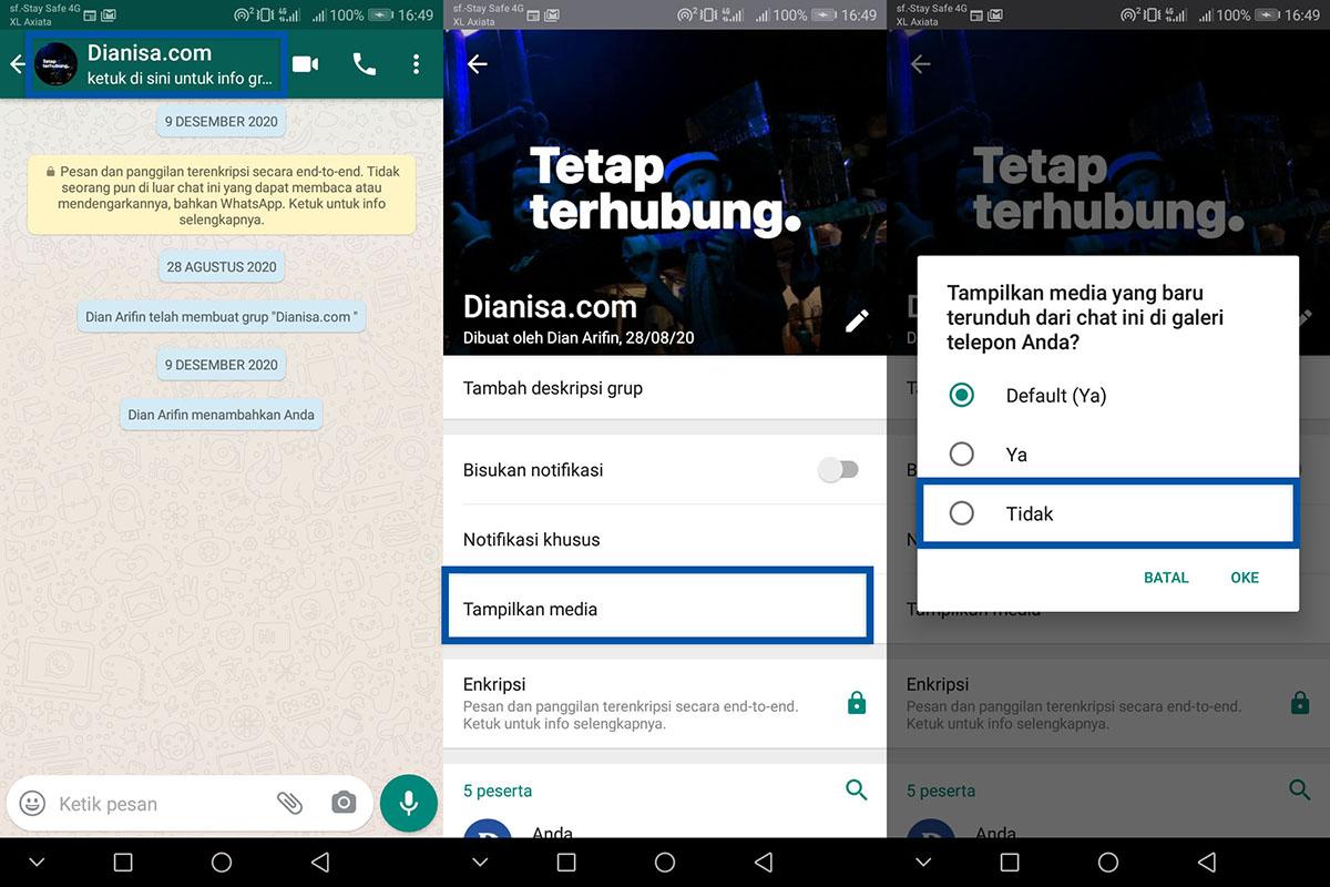 2 Sembunyikan Media Unduhan Grup WhatsApp