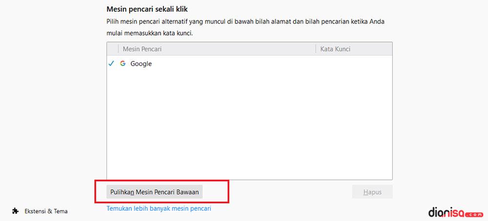 2. Ubah Default Mesin Pencari Firefox