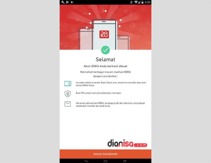 4. Membuat Akun Doku via Aplikasi