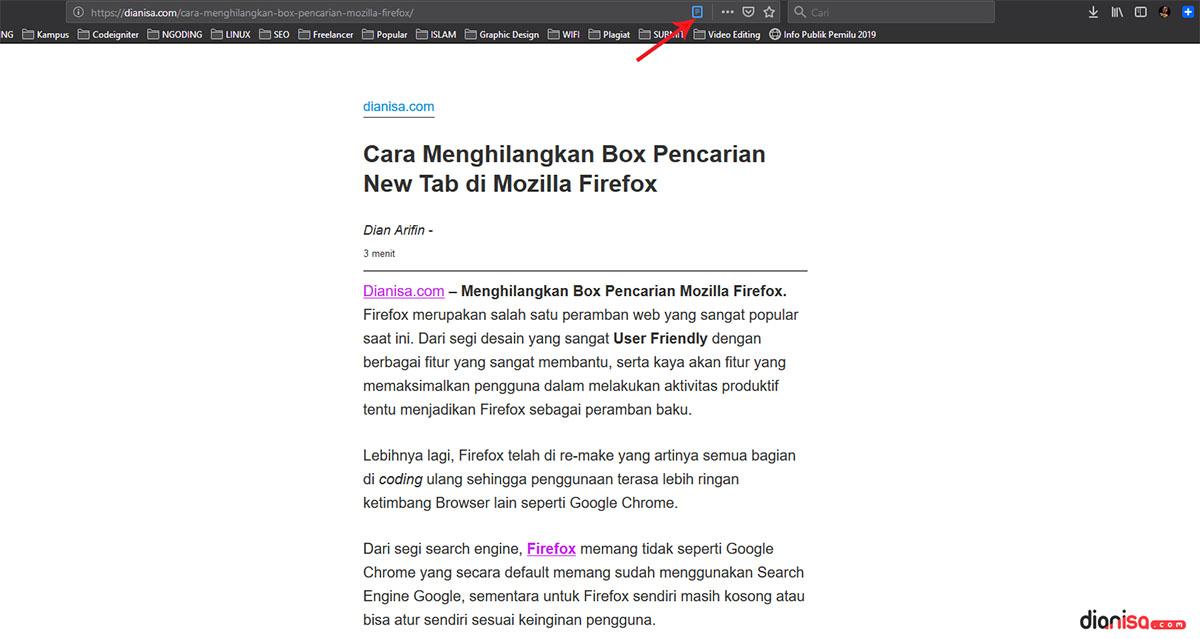 Reader Mode Pada Mozilla Firefox
