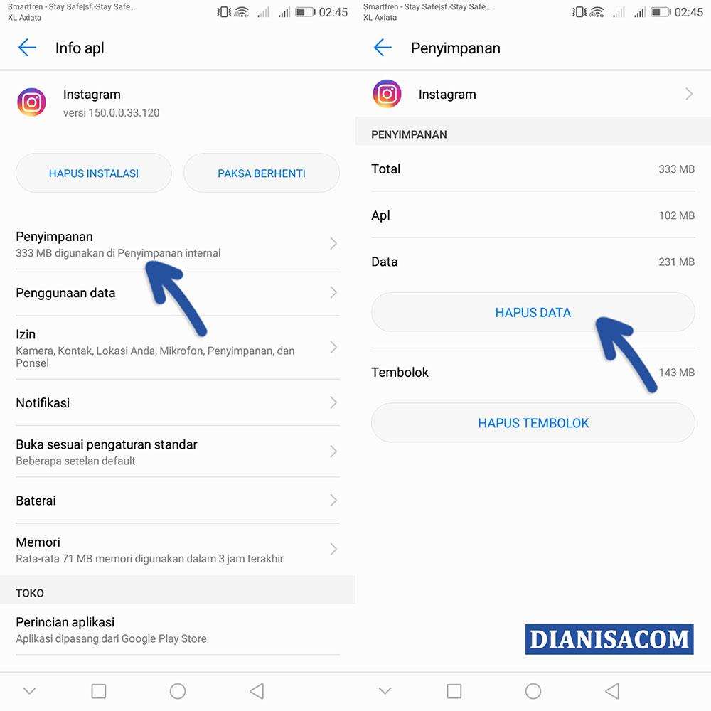 Cara Menghapus Data Aplikasi Instagram