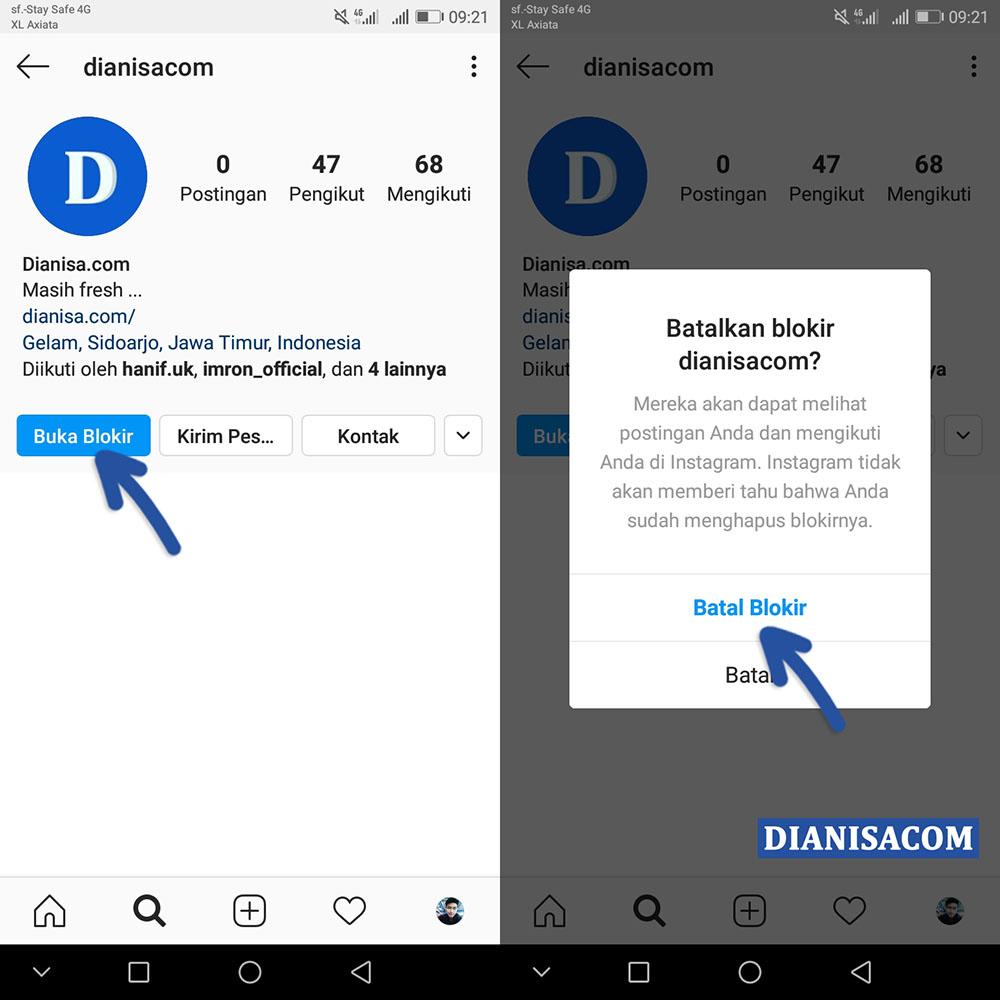 Buka Blokir Pengguna Instagram