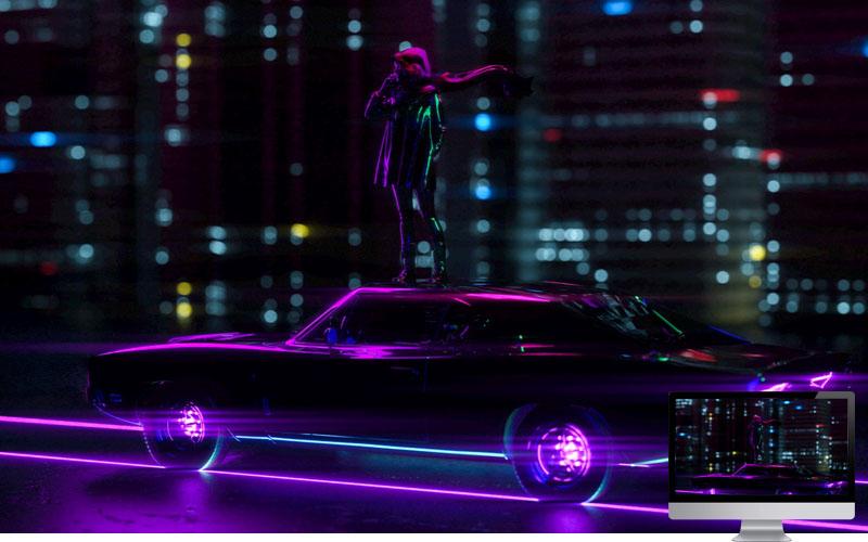 #7. Car Neon Movement Wallpaper