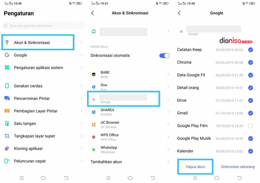 Hapus Akun Google VIVO