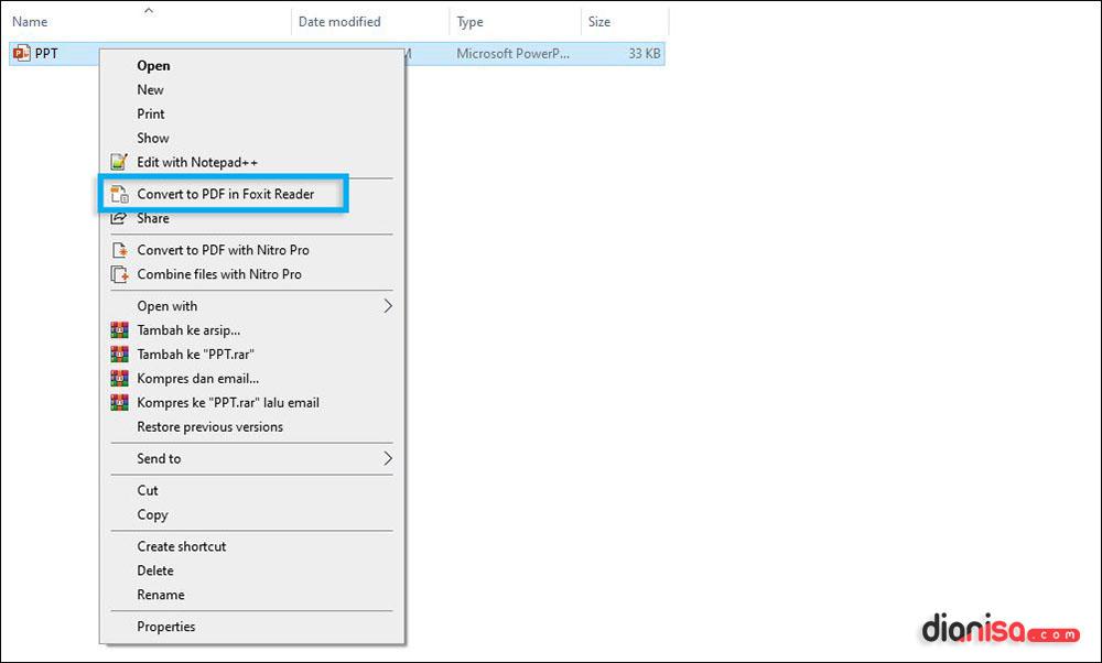 Konversi PPT ke PDF Foxit Reader