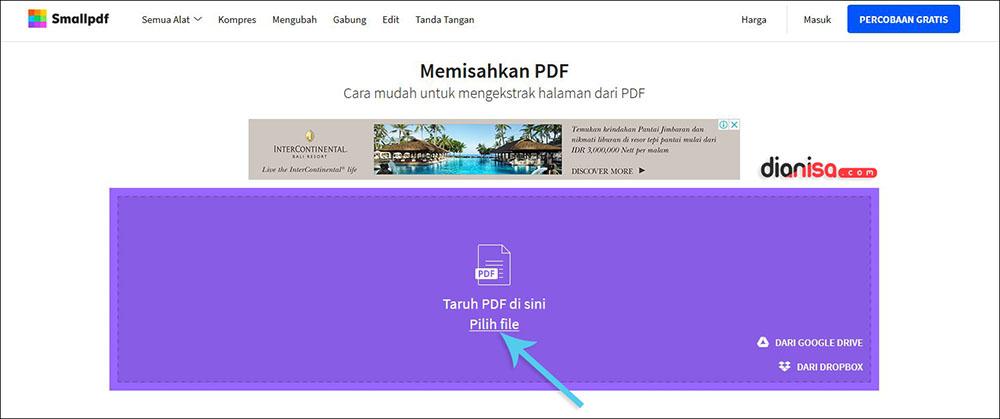 Memisahkan File PDF dengan SmallPDF