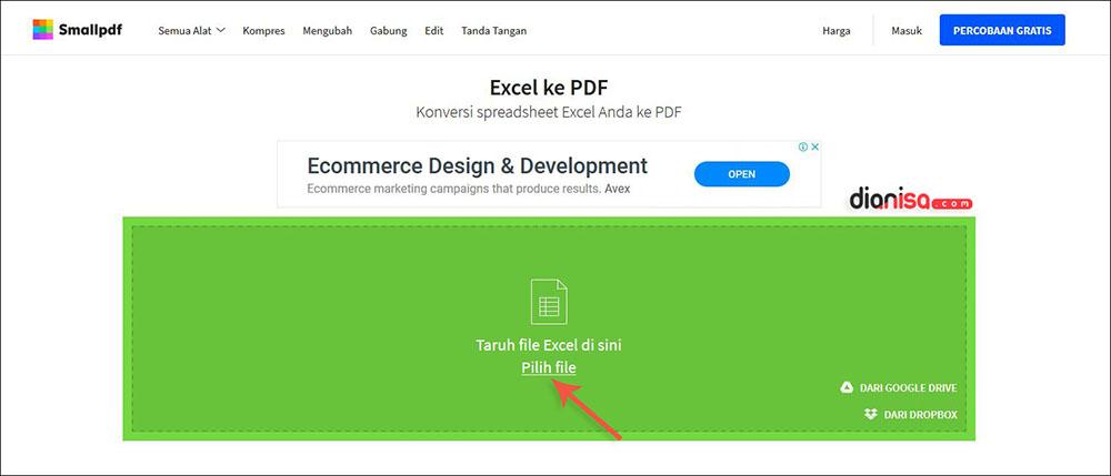 Mengubah Excel ke PDF SmallPDF