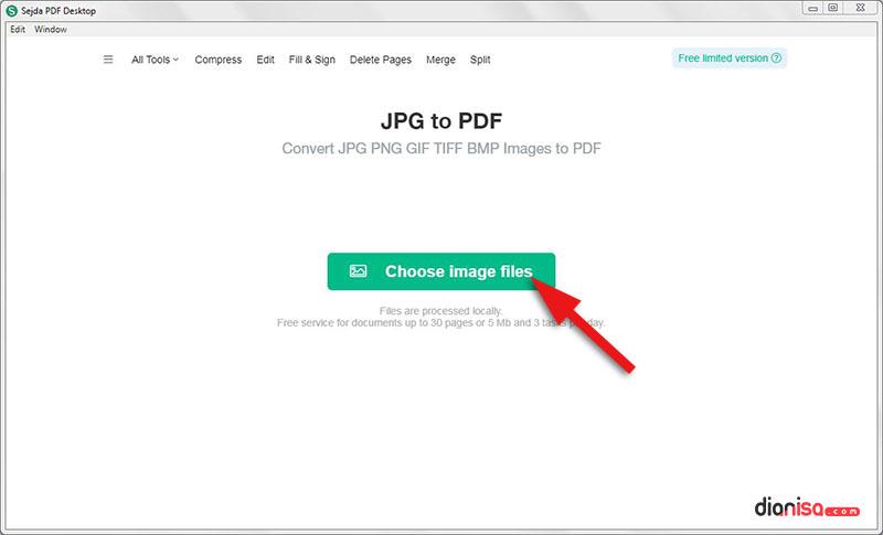 Mengubah JPG ke PDF (Sejda PDF)
