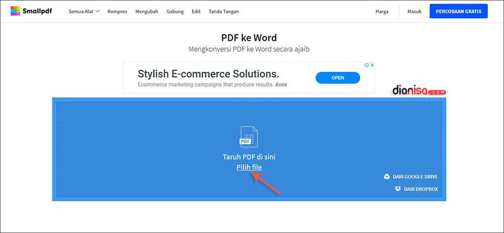 Mengubah PDF ke Format Doc SmallPDF