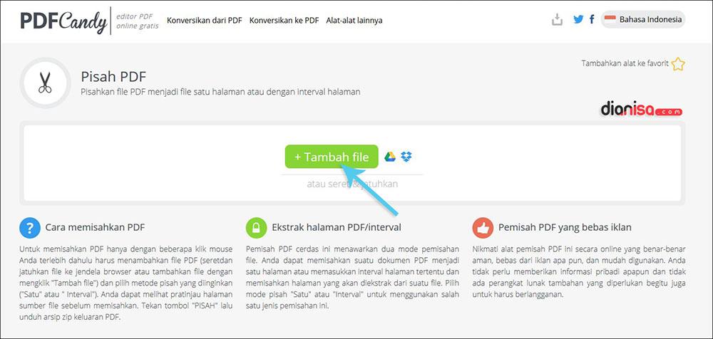 Pisahkan PDF per Halaman dengan PDF Candy