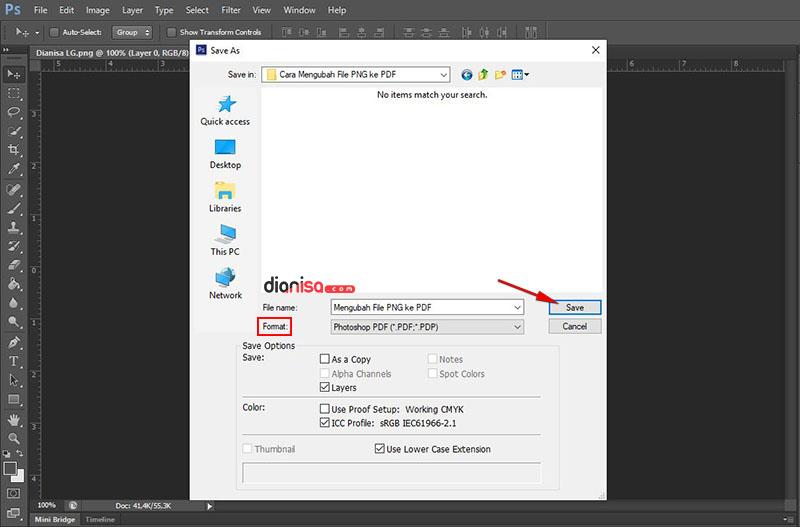 Mengubah file PNG ke PDF di Photoshop
