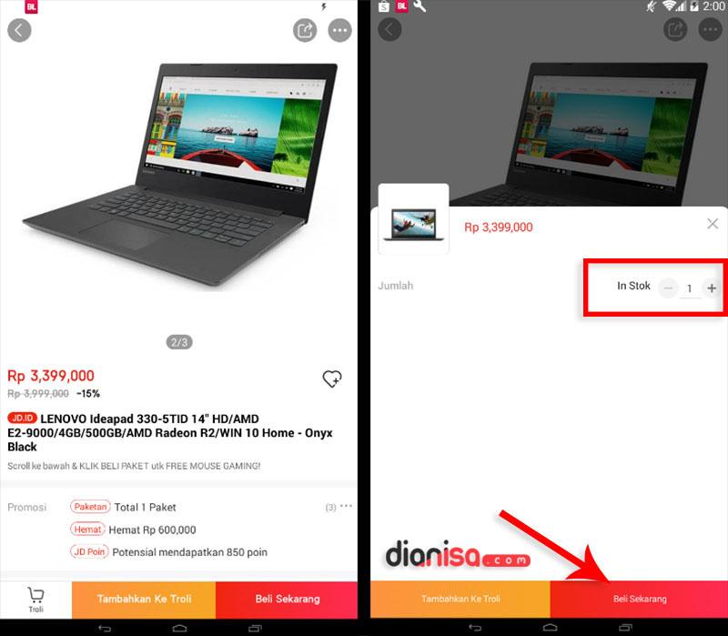 2. Belanja Online via JD.ID App