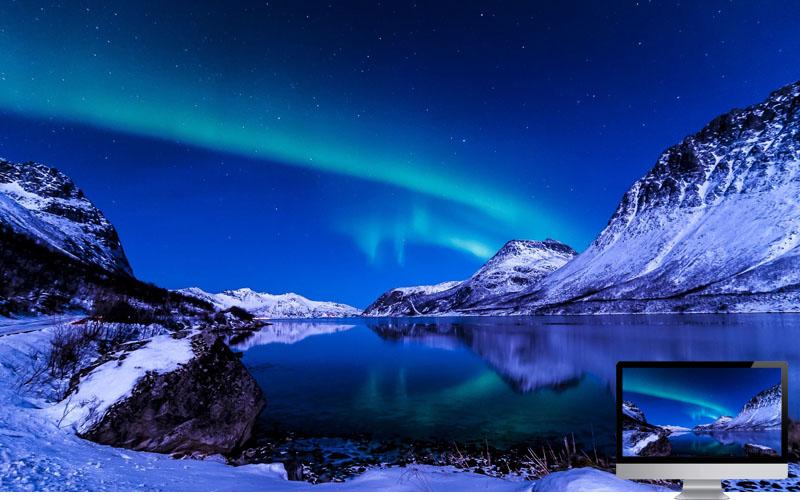 6. Aurora in Lake
