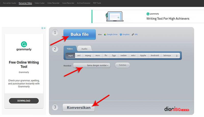 Mengecilkan File Video convert-video-online.com