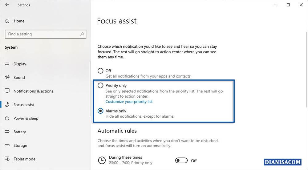 2 Menonaktifkan Notifikasi Sementara Windows 10