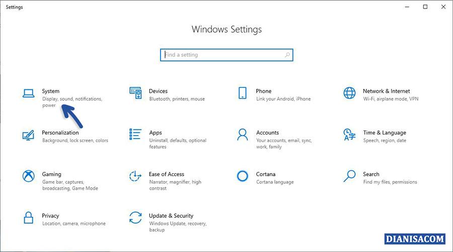 1 Masuk Menu System Windows 10