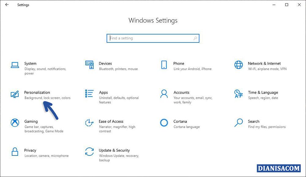 1 Masuk Personalization Settings Windows 10