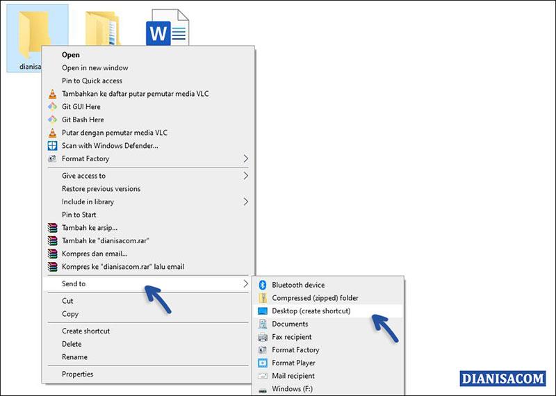 1 Mengirim Shortcut ke Desktop Windows