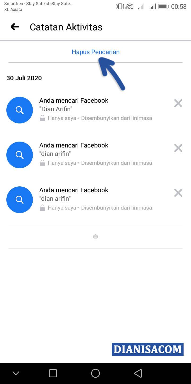 2 Hapus Log Pencarian Facebook