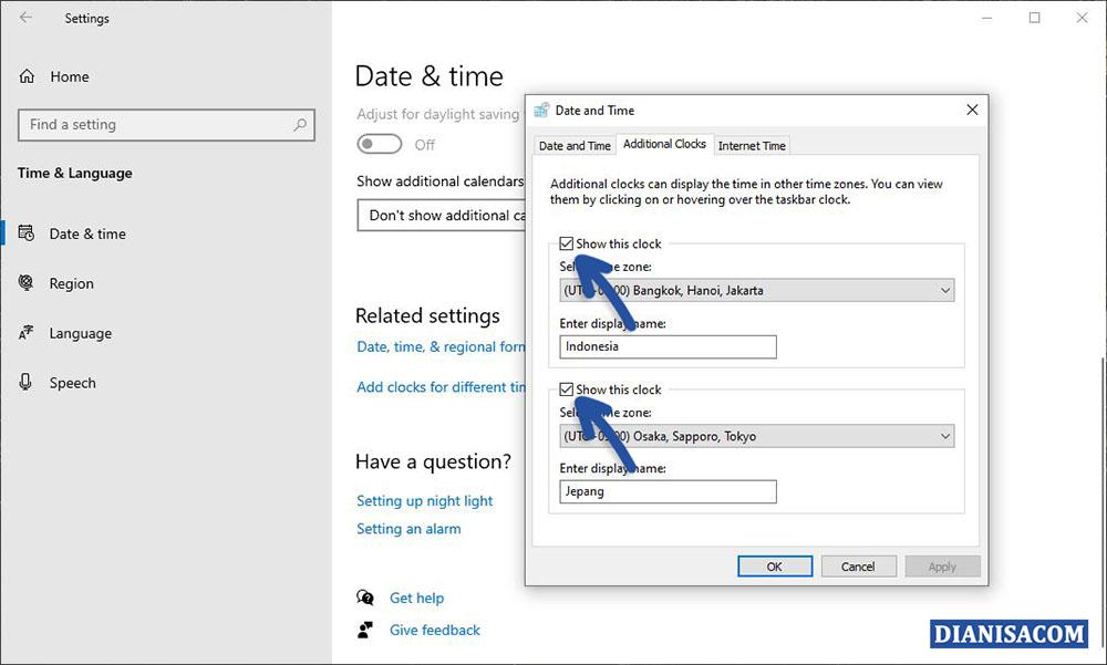 2 Menambahkan Zona Waktu Lain Windows 10