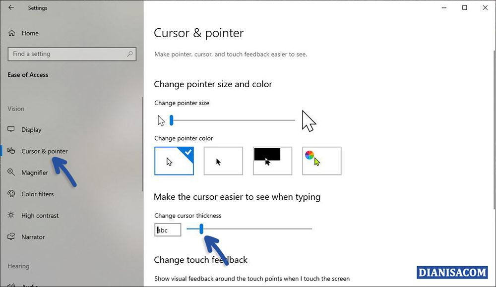 Mengubah Ketebalan Pointer Windows 10