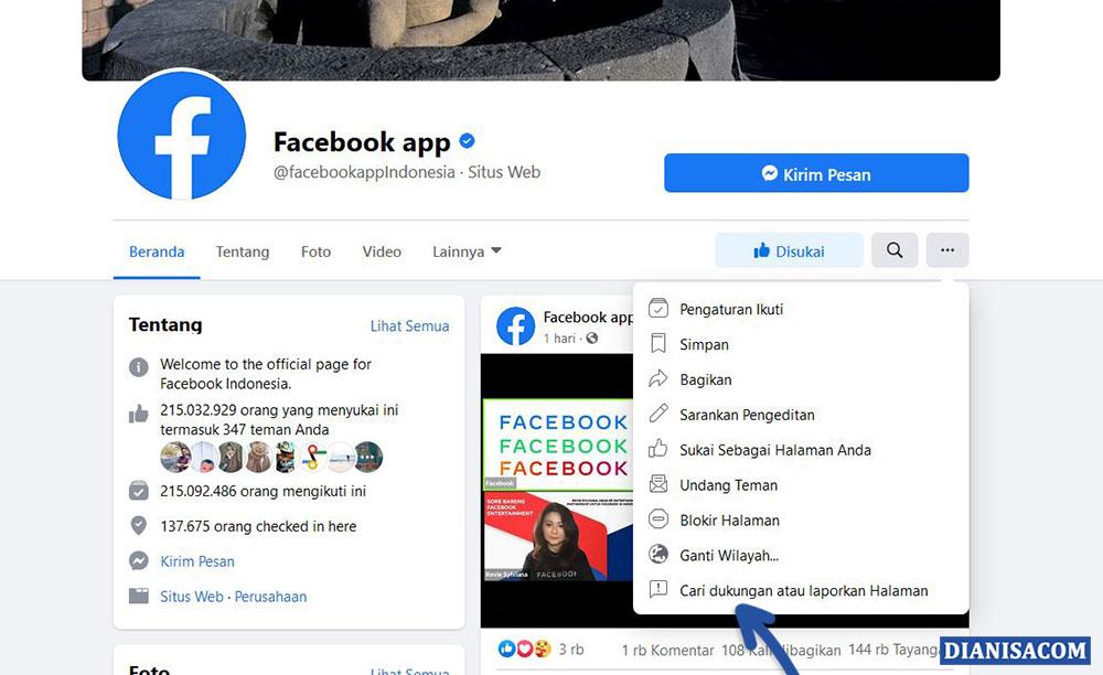1 Cari Dukungan atau Laporkan Halaman Facebook