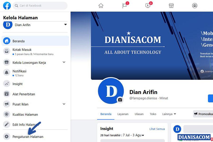 1 Klik Pengaturan Halaman Facebook
