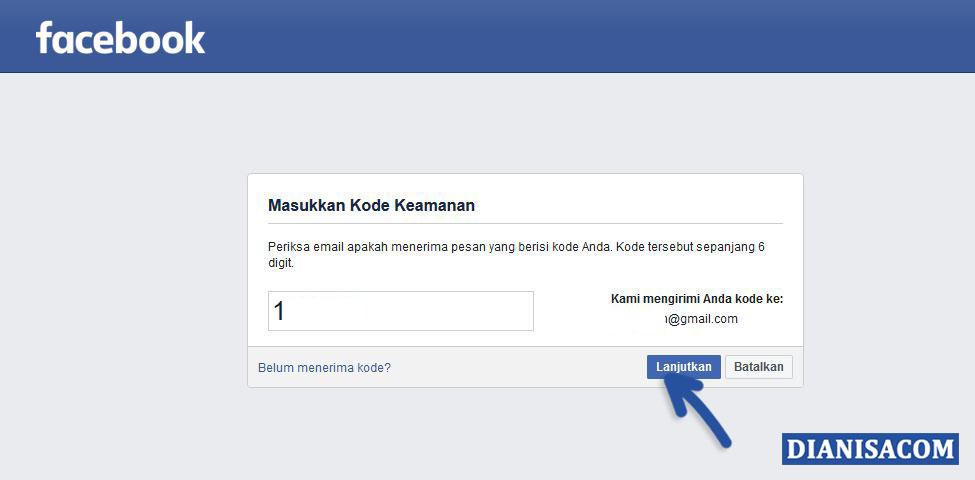 4 Masukkan Kode Reset Facebook
