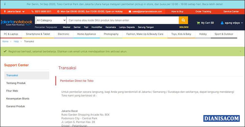 Berhasil Daftar Akun Jakartanotebook