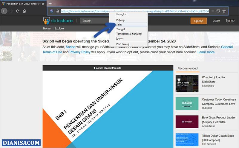 Copy URL SlideShare