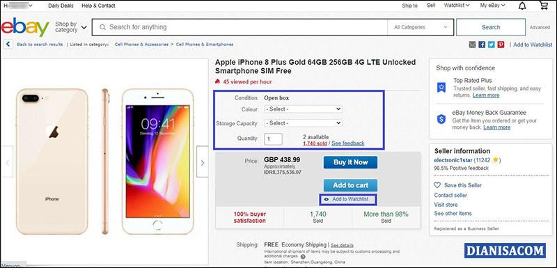 Halaman Pembelian eBay