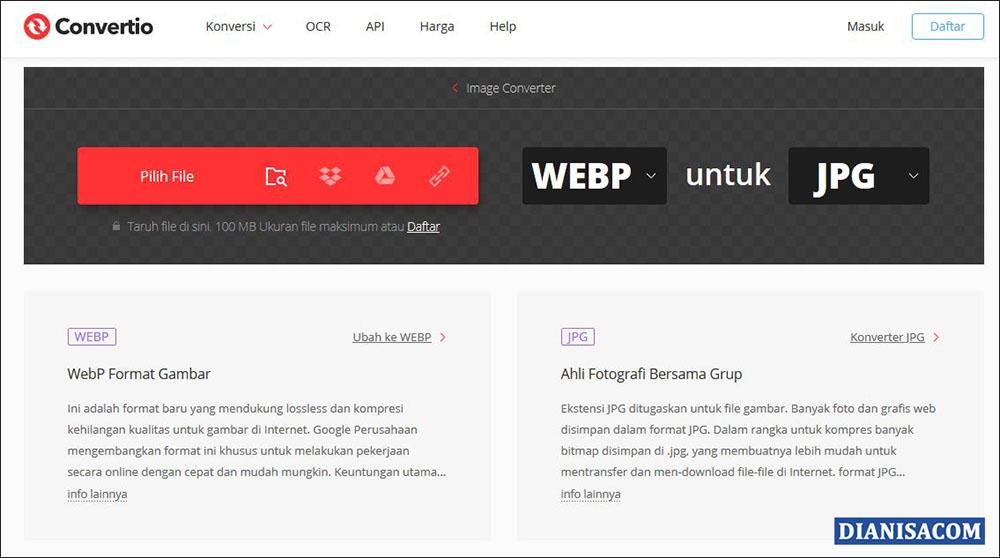 1 Convert WebP ke JPG Convertio