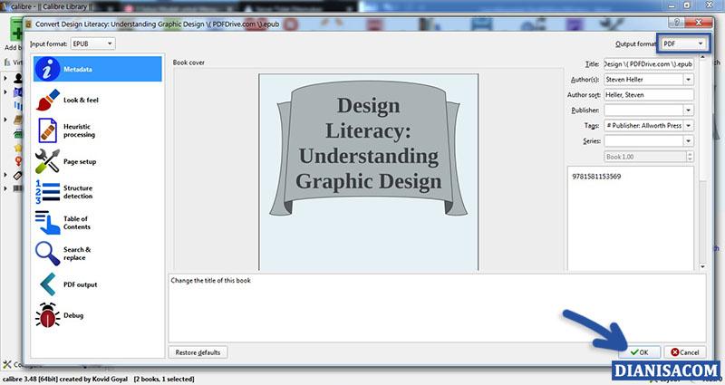 Convert EPUB ke PDF Calibre 2