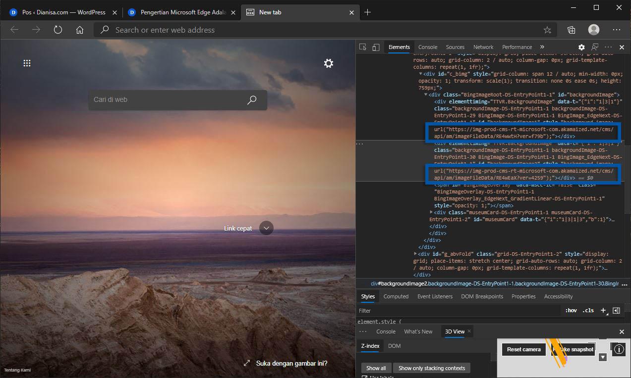 2 Cari URL Background Microsoft Edge