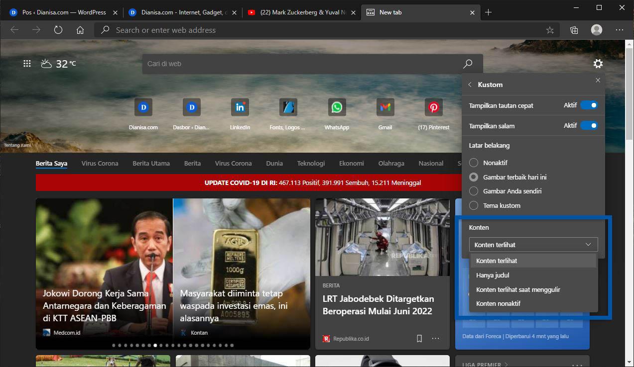 2 Nonaktifkan Konten Berita Microsoft Edge