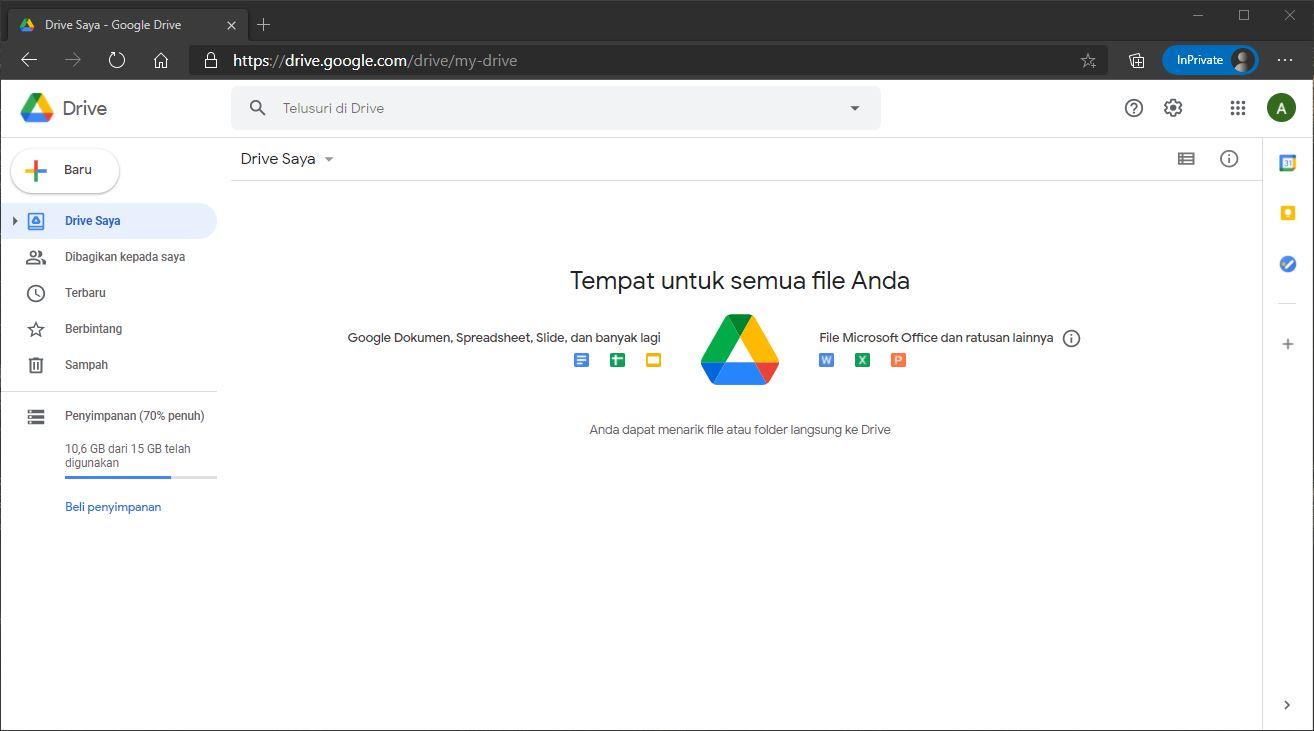 Tampilan antarmuka Google Drive