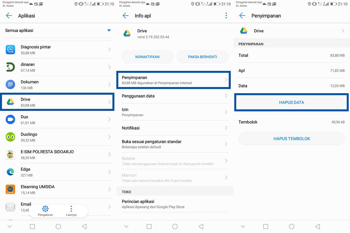Hapus Data Google Drive Android