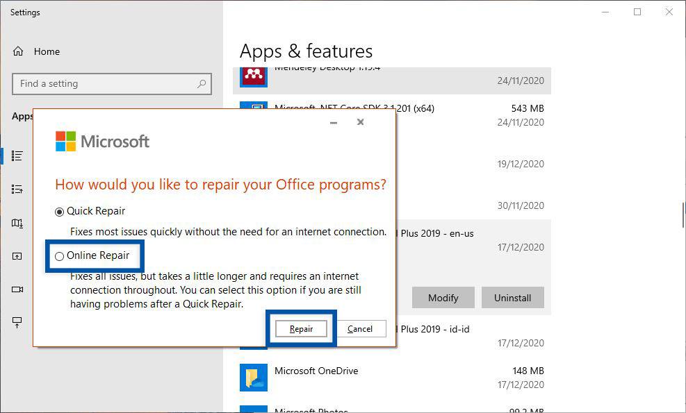 Repair Microsoft Office Windows
