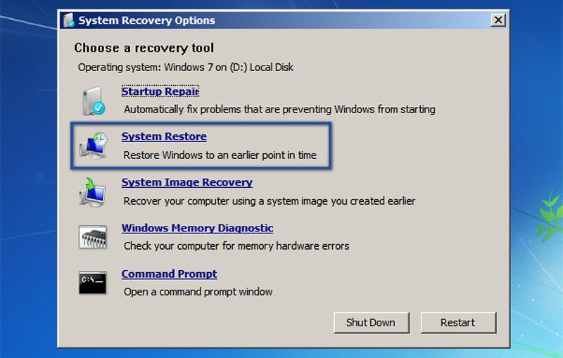 1. Menggunakan System Restore