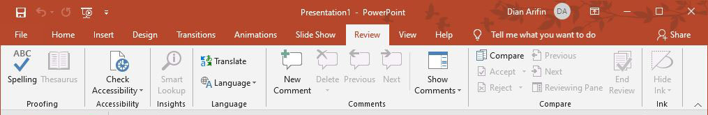 Fitur Review Microsoft PowerPoint