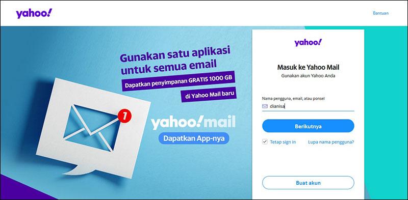 Halaman Masuk Yahoo Mail