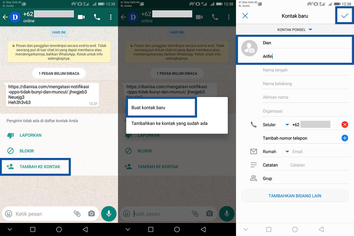Simpan kontak tidak dikenal WhatsApp