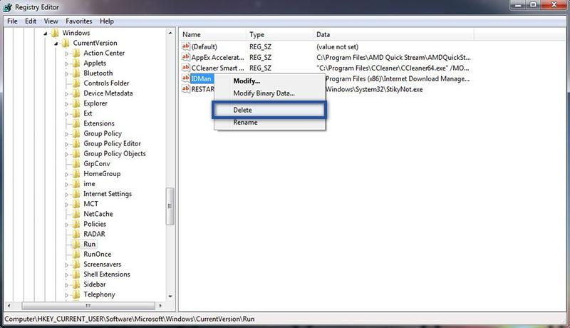 Hapus Startup Lewat Registri Editor